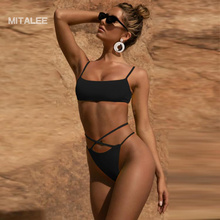 MITALEE Sexy Thong Women Swimsuit Bikini Set Low Waist Swimwear Push Up Bikinis Bathing Suit Summer Brazilian