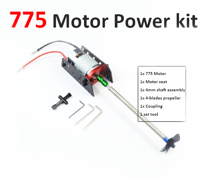 Free Shipping 775 RC Boat motor power kit set 775 motor+motor seat+4mm shaft+propeller+coupler RC Feeding boat motor kit цена и фото