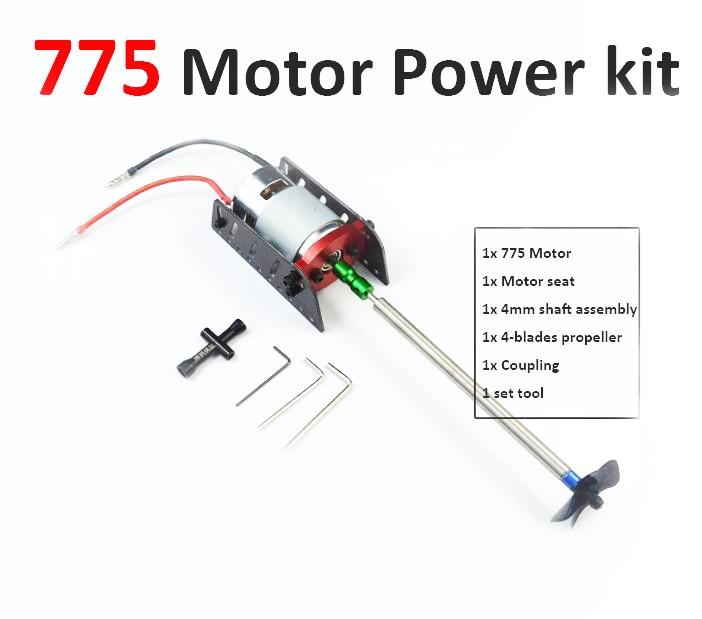 Free Shipping 775 RC Boat motor power kit set 775 motor+motor seat+4mm shaft+propeller+coupler RC Feeding boat motor kit