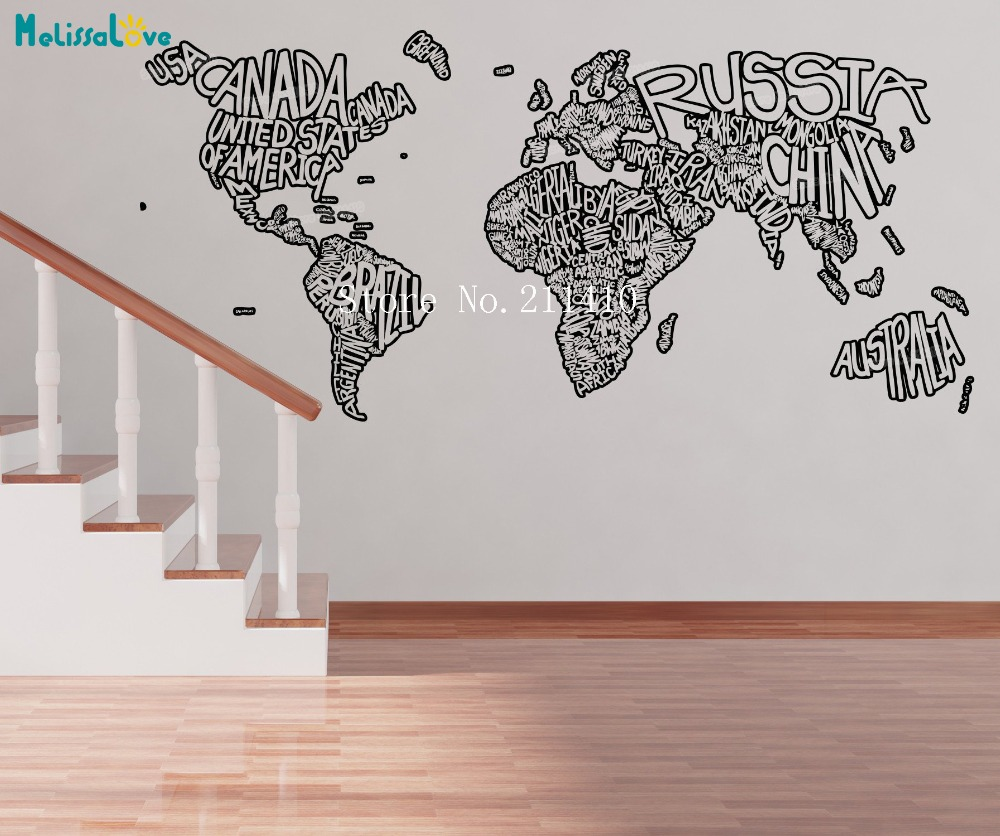 New Design Vinyl Wall Sticker Home Decoration Living Room Country Name Decal Self-adhesive Art Murals Special Implied Gift YY777