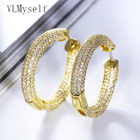 Hot sale Luxury hoop earrings Gold plate jewelry daily wear jewellery top quality fast delivery circle round design earring