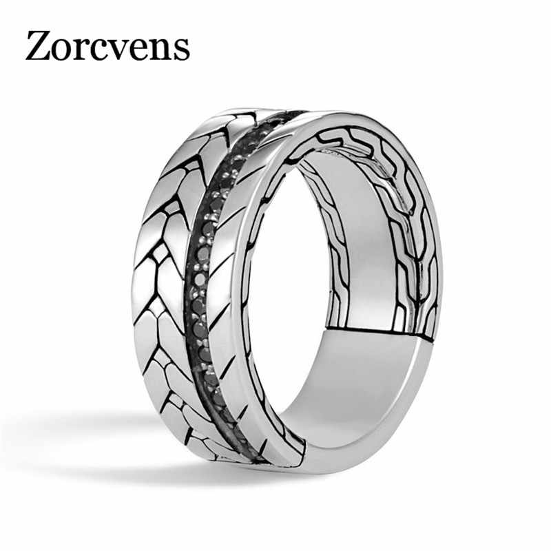 ZORCVENS New Arrival Punk Cool Vintage Ring for Men Women Retro Silver Color Punk Party Jewelry Gifts