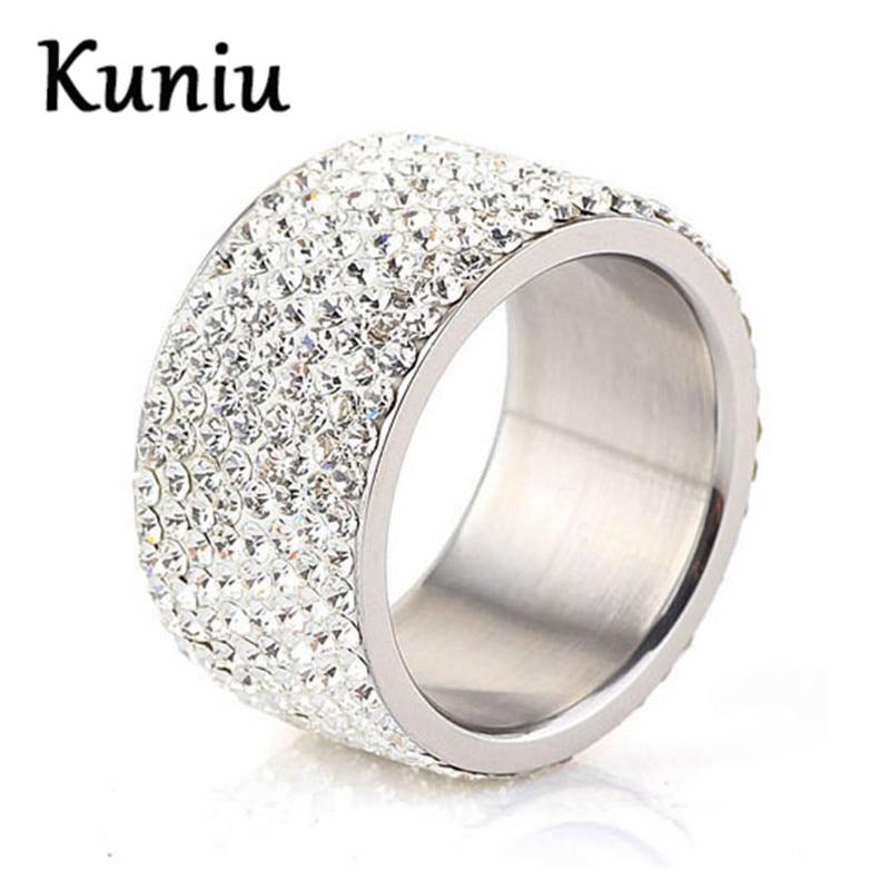 KUNIU 12MM Wide 8 Row White Crystal CZ ringss