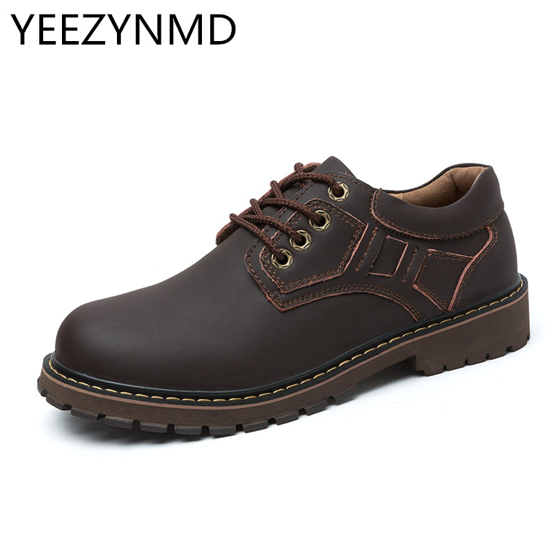 Mens Shoes Genuine Leather Men's Handmade Casual Fashion Designer Male Work Breathable Big Toe Shoes Lace up Footwear Size 38 44