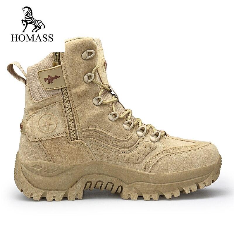 HOMASS Hiver Neige haute qualité militaire Troupeau Désert bottes hommes combat tactique bottes botas chaussures de Sécurité au travail Grande Taille 39 -46