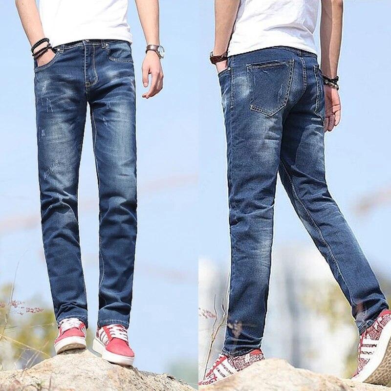 Jeans De Moda Para Hombre Pantalones Vaqueros Ajustados Tejanos Vaqueros Ajustados De Motociclista De Pierna Recta Larga Para Hombre Pantalones Vaqueros Casuales Inteligentes Azul Claro Profundo Biker Denim Jeans Fashion Men Jeansmens Fashion Jeans