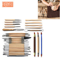 30 pcs DIY Art Clay Pottery Tool set Crafts Clay Sculpting Tool Wooden Handle Pottery Carving Tool Set Pottery Polymer Modeling