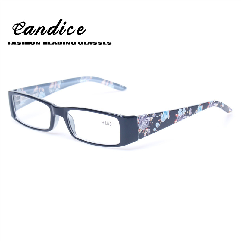 Reading Glasses Quality Stylish Design Women Eyewears Rectangular Frame Spring Hinge With Flower Print Eyeglasse for Reading