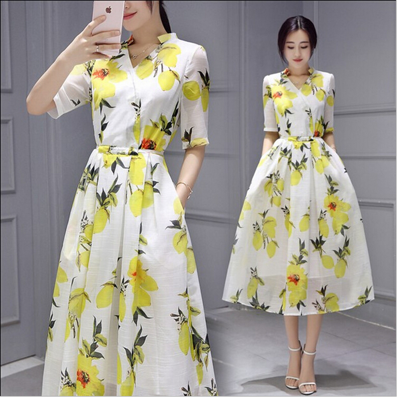 Buy Cheap Japanese and Korean style women summer dress half sleeve organza lemon printing slim long dress ZX-108