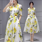 Save 13.95 on Japanese and Korean style women summer dress half sleeve organza lemon printing slim long dress ZX-108