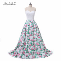 Modabelle Floral Print Pink Long Prom Evening Dress Women Vestidos De Festa 2018 Real Photos Sweetheart