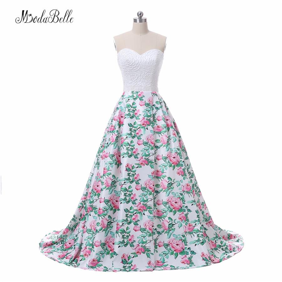 modabelle bloemenprint roze lange prom avondjurk vrouwen vestidos de - Jurken voor bijzondere gelegenheden - Foto 1