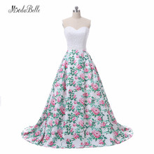 Modabelle Blumendruck Rosa Langes Abschlussball-Abend-Kleid-Frauen Vestidos De Festa 2018 Wirkliche Fotos Schatz-wulstige Formale Kleider