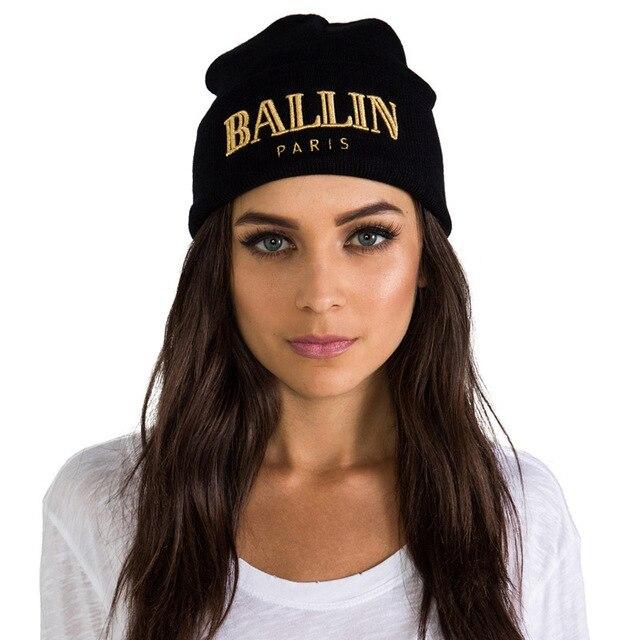 Beanie mujeres caliente sombrero de invierno para las mujeres sombreros y  gorras hombres BALLN Paris bordado 93228a9c95c