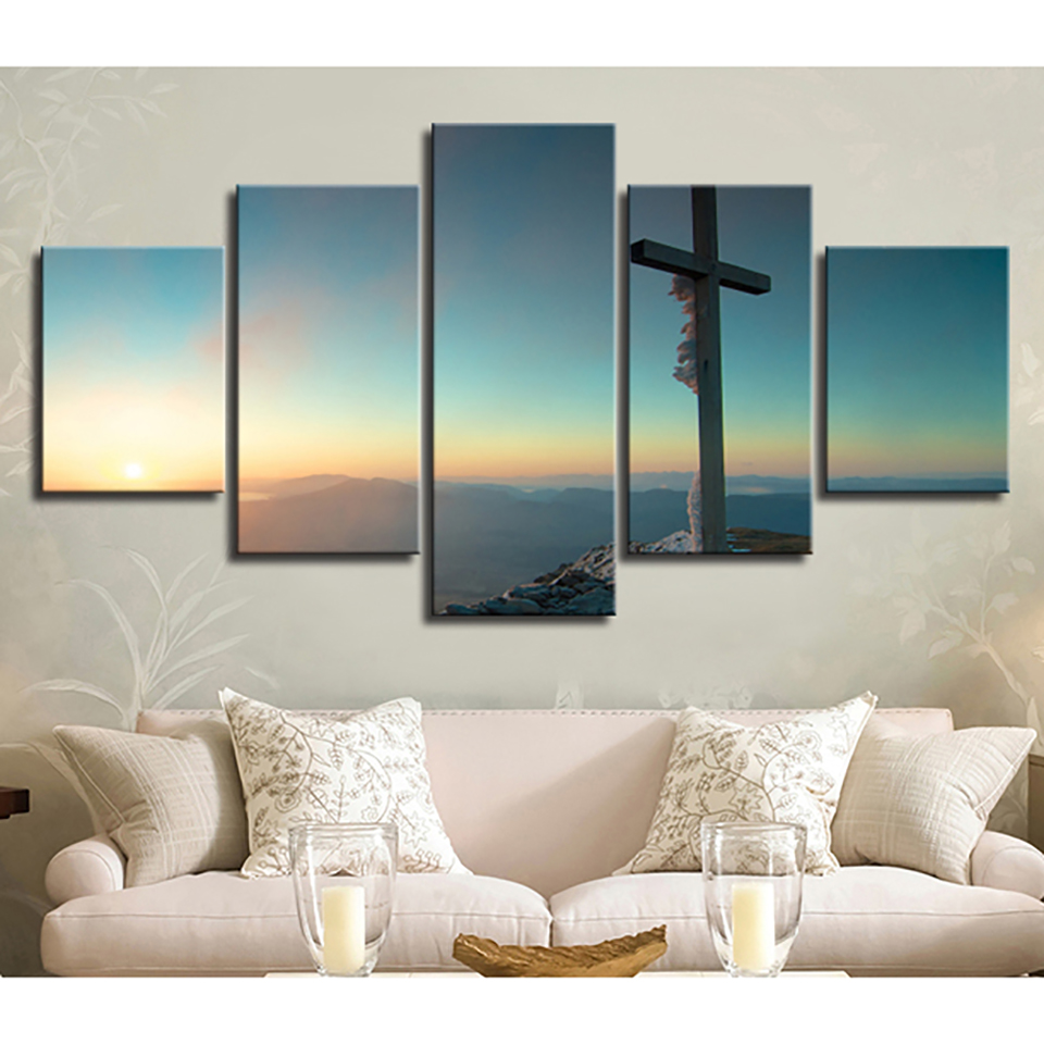 Decoration Posters Frame Living Room Hd Printed 5 Panel Christian Cross Modular Picture Wall Art