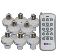 8pcs Wireless Remote Control Lamp Holder 220V Remote Control with 1pcs 15 Buttons Transmitter E27 Screw Learning Type