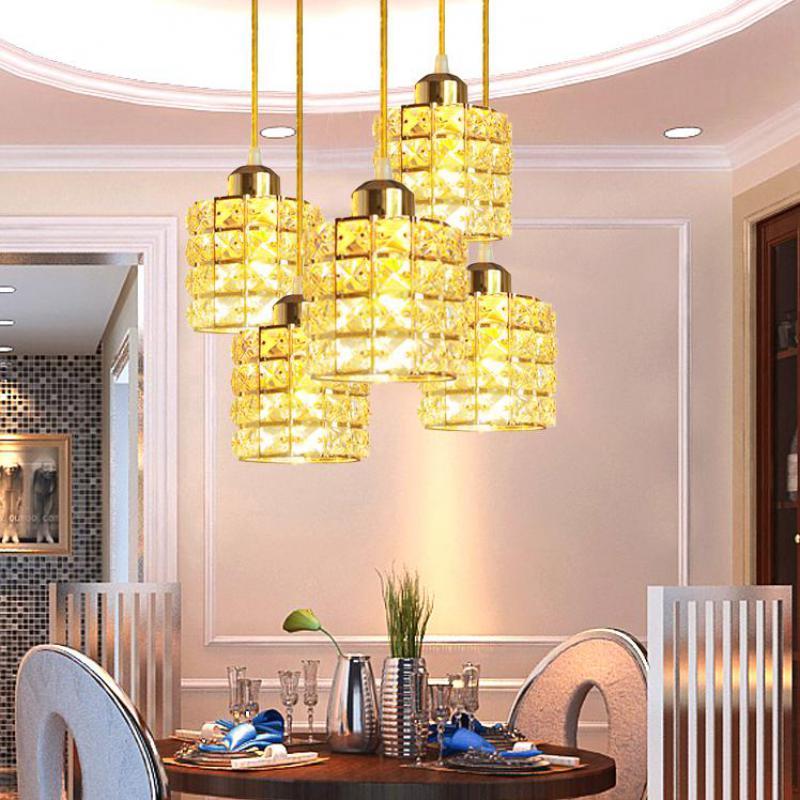 Led Crystal Gold Restaurant Chandelier Bar Dining Hall Lustre Pendente Led Lamp Modern Loft Style Chandelier Lighting