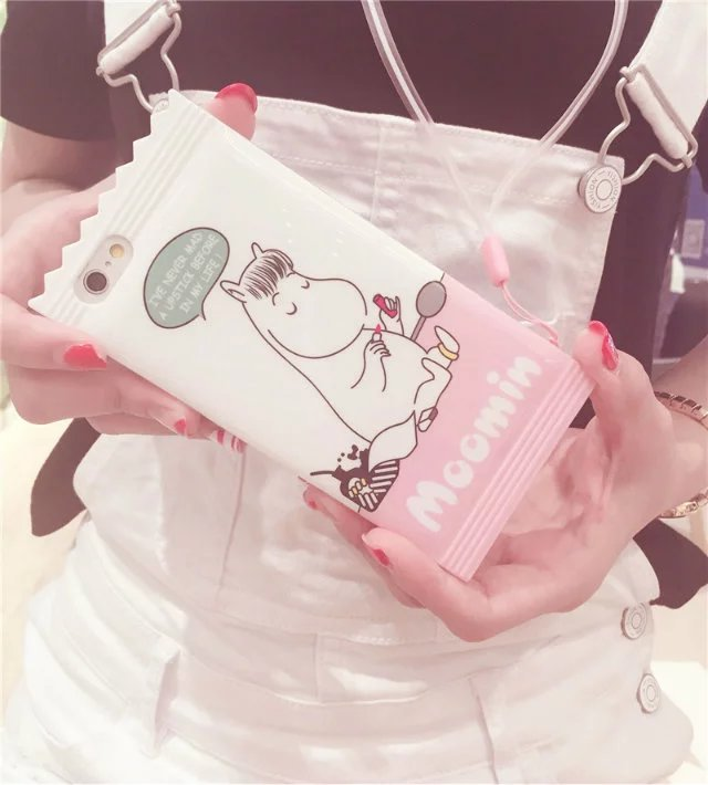 New Fashion Dynamic Cartoon cute Moomin tower castle Shell Cover For iPhone 6s 6s plus Moomin Phone Cases