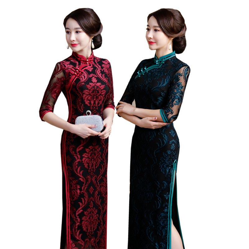 2019 Black Lace Chinese Wedding Dress Female Cheongsam Slim Chinese Traditional Dress Women Long Qipao For Wedding Party Dress(China)