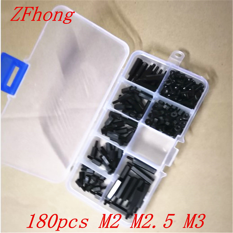 180pcs/lot nylon standoff kit Male to Female M2 M2.5 M3 Length 6-20m black Nylon Standoff Spacer kit m3 18 6 1 pcs black nylon standoff spacer standard m3 male female 18mm standoff kit repair set high quality