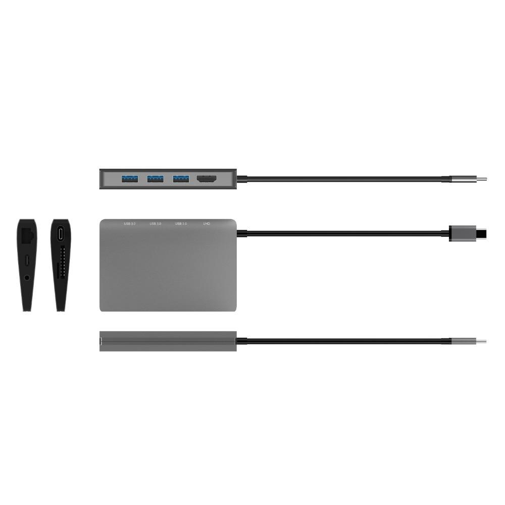 JZYuan 9 en 1 HUB USB C 3,1 HUB 4 K HDMI/30Hz Ethernet RJ45 tipo C muelle de carga para el MacBook Pro Huawei P20 Pro HUB USB 3,0 - 4
