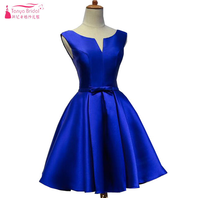 In Stock Short Bridesmaids Dresses V Neck A Line Satin Wedding Guest Royal Blue