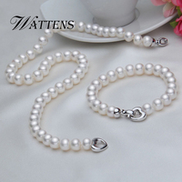WATTENS New Natural Pearl Necklace Bracelet Sets Pearl Jewelry Sets For Women Accessories Party Jewelry Wedding