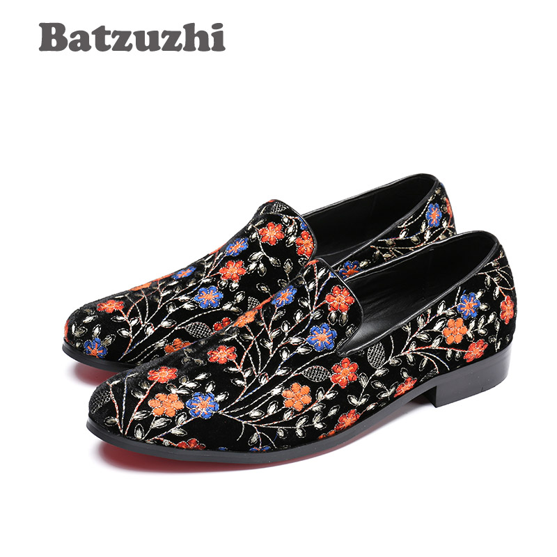 Batzuzhi Retro Fashion Mens Shoes Black Suede with Flowers Elegant Leather Mens Shoes Casual Zapatos de los Hombres, Size 38-46 стоимость