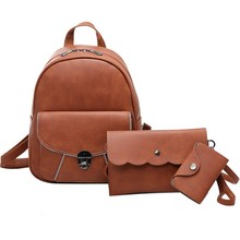 Korean Fashion Leisure Women PU Leather Bags Ladies Retro Girl Soft Handle Solid Color Bag