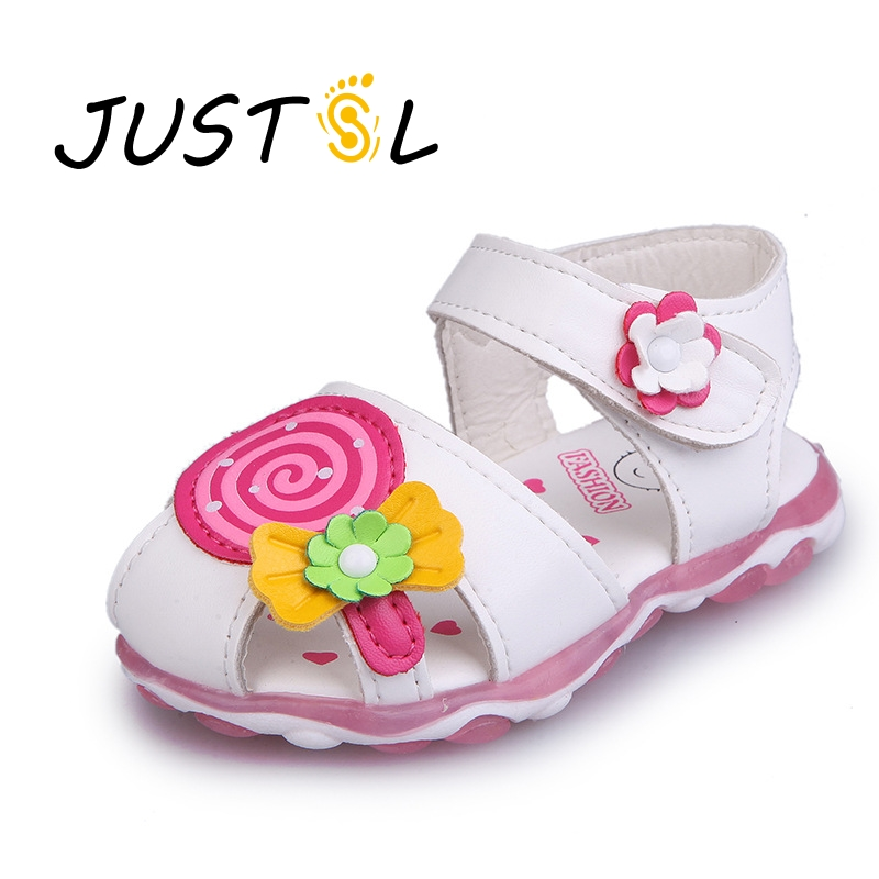 JUSTSL 2017 Summer New Fashion Girl Sandals Cute Candy Toe Sandals Flowers Hook Loop Soft Sandals Baby Sandals