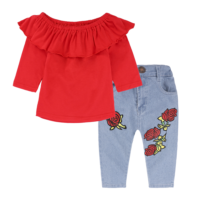 Hot Sale New Fashion Spring Autumn Kids Girls Clothing Sets Cotton O-Neck Long Sleeve Red T-shirt + Jeans Child Clothes Suits кисть для глаз just make up кисть для теней 95 g
