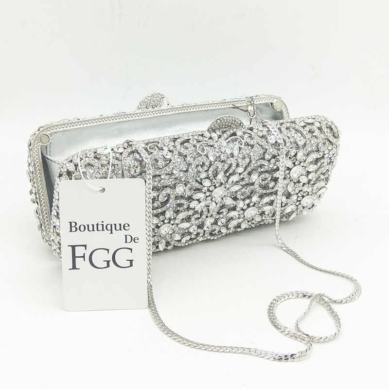31ab461f5f ... Boutique De FGG Women Silver Crystal Clutches Bag Evening Party  Minaudiere Box Clutch Purse Bridal Flower ...