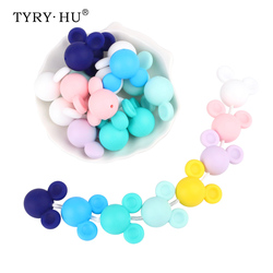 TYRY.HU Silicone Beads Teether 1pc Biter Beads Baby Teething Pendant Silicone Pacifier Clips BPA Free Teething Toys Mouse Shape