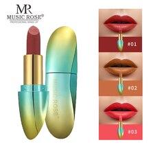 MUSIC ROSE Matte Lips Stick Batom Long Lasting Silky Moist Waterproof Lipstick tint Velvet Nude Luxury lip Makeup 2019 new