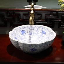 Vidriado chino encimera de arte fregaderos para baño de cerámica lavabo Porcelana vintage lavabo de tocador flor azul blanco