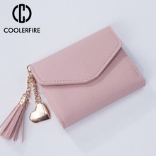 цены Fashion Short Card Holder Cute Small Money Bag Purse Female Clip PU Leather Women Wallet Small Coin Bag Wallets For Women PJ115
