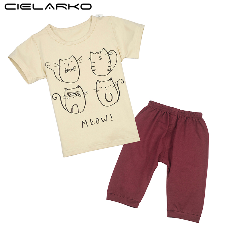 Cielarko Kids Clothing Set Children Unisex Track Suits Boy Girl Cotton Cat Fox T-shirt + Sport Pants Clothes Suits for 2-7 Years