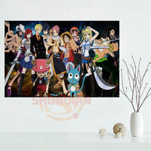 Fairy Tail  One Piece Anime Poster Custom canvas poster print cloth fabric wall poster print Silk Fabric Print