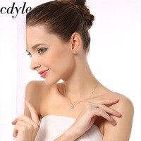 Cdyle Necklace Women Pendant S925 Sterling Silver Fashion Jewelry Elegant Simple Australian Rhinestone Paved Bijoux Lady