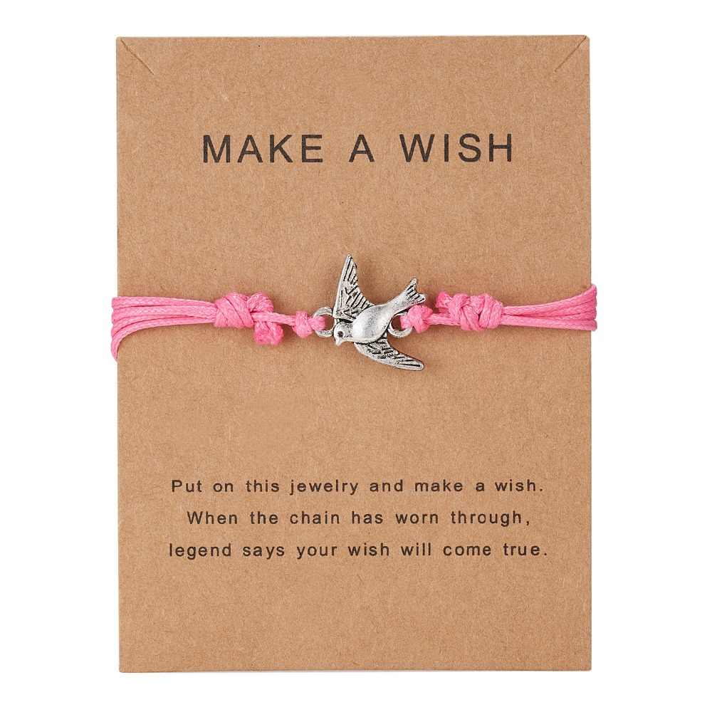 חמוד בעלי החיים ינשוף דבורה צהבהב קסם צמידי עם כרטיס עתיק כסף בעלי החיים נשים גברים תכשיטים בעבודת יד צמידי מתנה