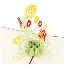 blel hot 3d pop up postcard gift card sun flower sunflower business cards china