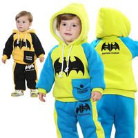 Free Shipping2014 Child Winter Plus Thick Velvet Paragraph Korean Version Of The Bat Boy Suit 2556