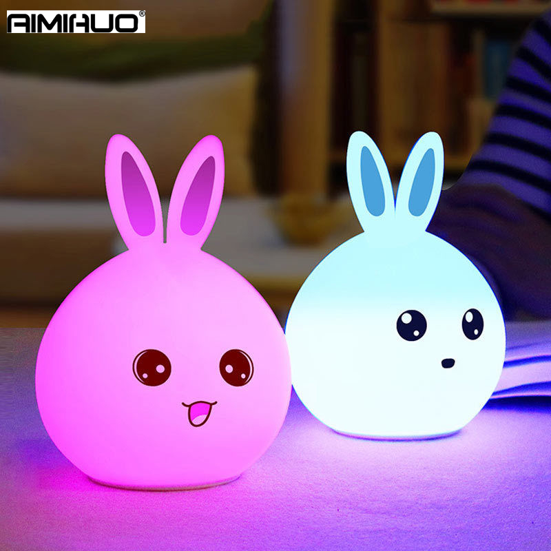 AIMIHUO Cute 7 Color Rabbit Night Light USB Rechargeable Bear LED Night Lamp Pat Change Color Bedroom Childrens Night Lamps ...