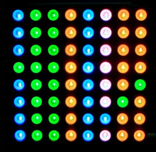 Three -color full-color common anode RGB LED dot matrix display module compatible colorduino 60mm 8 * 8