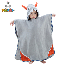 MICHLEY New Baby Bathrobe Cute Hooded ox horn  0-7 Years Babies Colorful Animal Cotton Pajamas Childrens Towel QWC