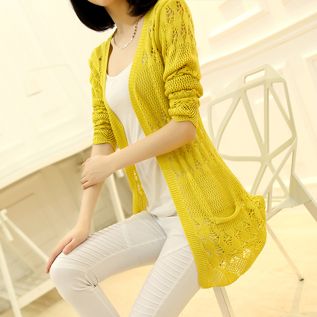 Knitted Cardigan Loose Pocket Hollow Long Sleeve Women Sweater 2