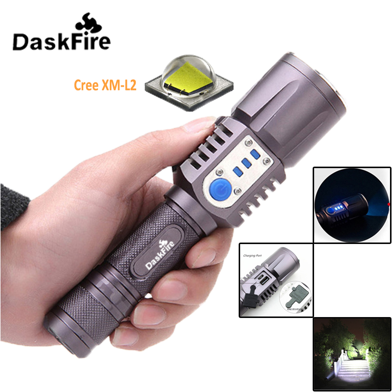 DaskFire Waterproof 1200Lm USB LED Flashlight XM-L L2 Rechargeable Charging Torch Outdoor Camping Light USB Charge LED Torch