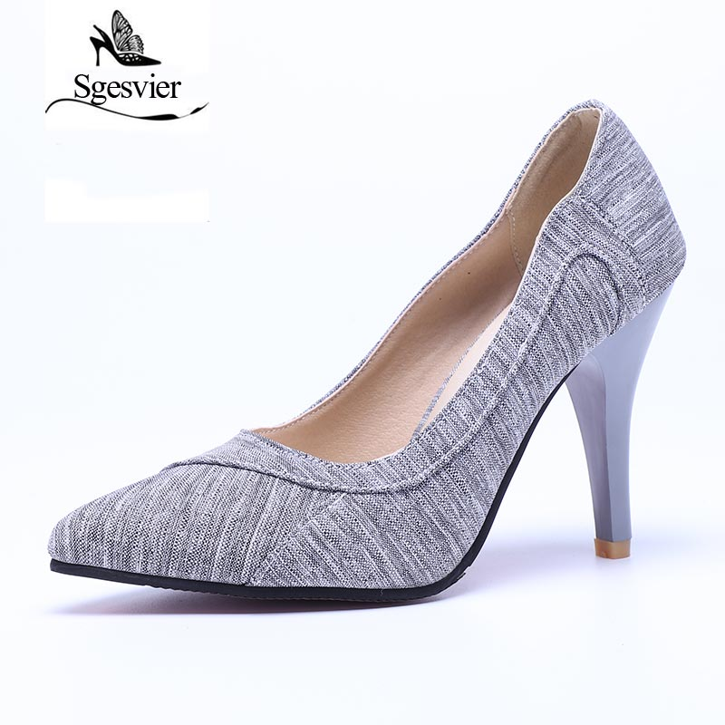 SGESVIER Women Pumps 2018 Spring New Elegant Sexy Dress Plus Size 28-52 Pointed Head Thin High Heels Office Lady Shoes OX082 sgesvier 2017 spring summer women pumps sweet high heeled shoes thin high heel shoes hollow pointed stiletto elegant tr007