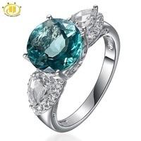 Hutang Natürliche Blaue Fluorit Diamant Schmuck Topaz Anel 925 Sterling Silber Ringe für Frauen 5.62ctw Fine Jewellery Neue 2017