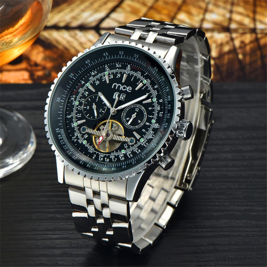 Mens Watches Top Brand Luxury MCE Tourbillon Automatic Mechanical Watches Men Watch Full Stainless Steel Montre Homme guanqin gj16031 top brand luxury automatic mechanical tourbillon watch men luminous stainless steel wristwatch montre homme